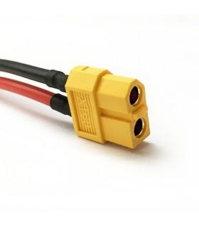 Connecteur XT60 femelle sur câbles AWG14 de 10 cm